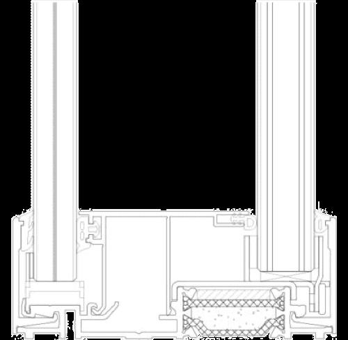 przekrój system ścian szklanych